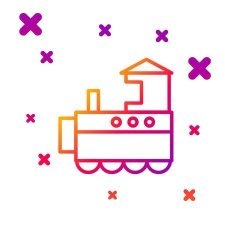 Color line Toy train icon isolated on white background. Gradient random dynamic shapes. Vector Illustration Ilustração