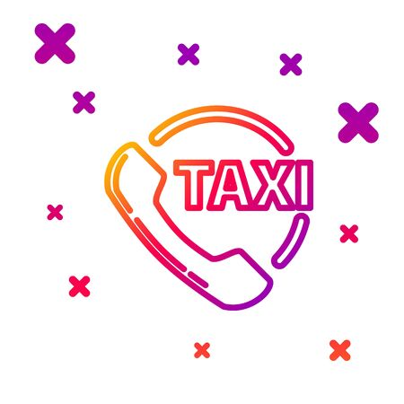 Color line Taxi call telephone service icon isolated on white background. Taxi for smartphone. Gradient random dynamic shapes. Vector Illustration