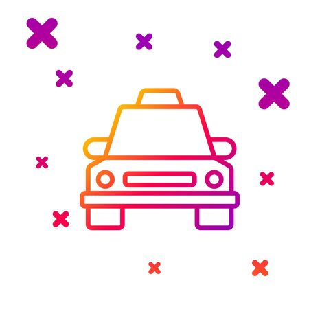 Color line Taxi car icon isolated on white background. Gradient random dynamic shapes. Vector Illustration 일러스트