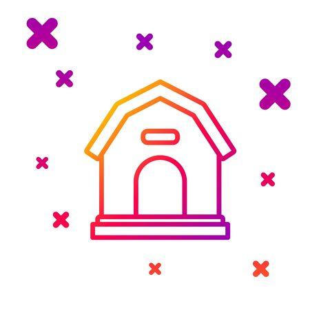 Color line Dog house icon isolated on white background. Dog kennel. Gradient random dynamic shapes. Vector Illustration Ilustração