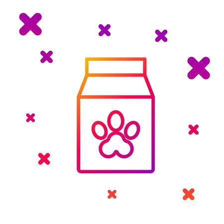 Color line Bag of food for pet icon isolated on white background. Food for animals. Pet food package. Dog or cat paw print. Gradient random dynamic shapes. Vector Illustration