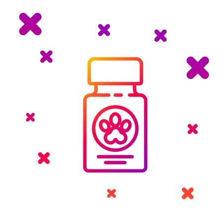 Color line Dog medicine bottle and pills icon isolated on white background. Container with pills. Prescription medicine for animal. Gradient random dynamic shapes. Vector Illustration Ilustração