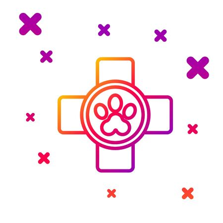 Color line Veterinary clinic symbol icon isolated on white background. Cross hospital sign. Stylized paw print dog or cat. Pet First Aid sign. Gradient random dynamic shapes. Vector Illustration