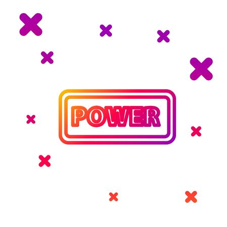 Color line Power button icon isolated on white background. Start sign. Gradient random dynamic shapes. Vector Illustration