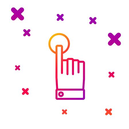 Color line Hand touch and tap gesture icon isolated on white background. Click here, finger, touch, pointer, cursor, mouse symbol. Gradient random dynamic shapes. Vector Illustration