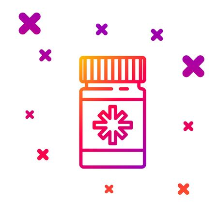 Color line Dog medicine bottle and pills icon isolated on white background. Container with pills. Prescription medicine for animal. Gradient random dynamic shapes. Vector Illustration