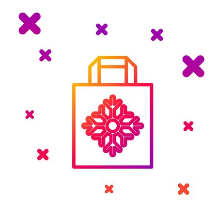 Color line Christmas paper shopping bag icon isolated on white background. Package sign. Merry Christmas and Happy New Year. Gradient random dynamic shapes. Vector Illustration