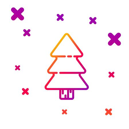 Color line Christmas tree icon isolated on white background. Merry Christmas and Happy New Year. Gradient random dynamic shapes. Vector Illustration