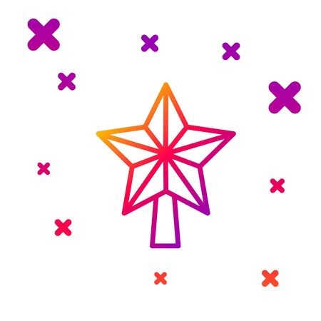 Color line Christmas star icon isolated on white background. Merry Christmas and Happy New Year. Gradient random dynamic shapes. Vector Illustration