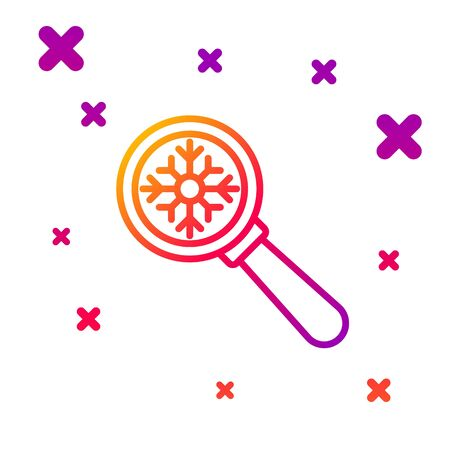 Color line Magnifying glass with snowflake icon isolated on white background. Gradient random dynamic shapes. Vector Illustration