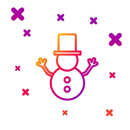Color line Christmas snowman icon isolated on white background. Merry Christmas and Happy New Year. Gradient random dynamic shapes. Vector Illustration