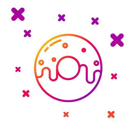 Color line Donut with sweet glaze icon isolated on white background. Gradient random dynamic shapes. Vector Illustration Ilustração