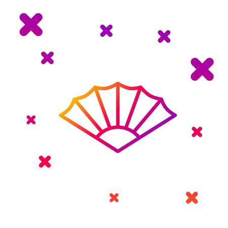 Color line Traditional paper chinese or japanese folding fan icon isolated on white background. Gradient random dynamic shapes. Vector Illustration