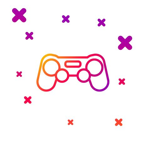 Color line Gamepad icon isolated on white background. Game controller. Gradient random dynamic shapes. Vector Illustration