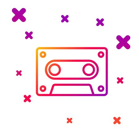 Color line Retro audio cassette tape icon isolated on white background. Gradient random dynamic shapes. Vector Illustration