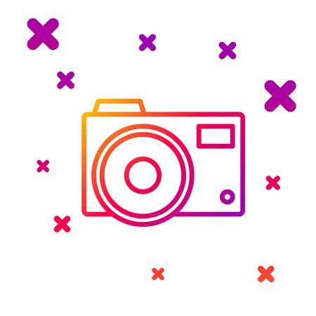 Color line Photo camera icon isolated on white background. Foto camera icon. Gradient random dynamic shapes. Vector Illustration