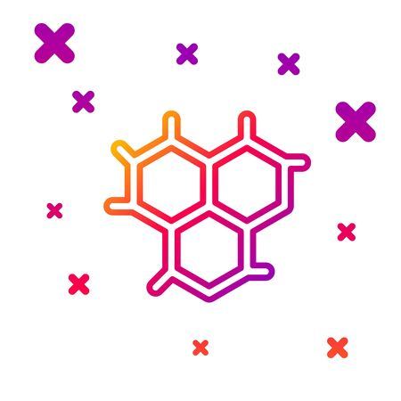 Color line Chemical formula icon isolated on white background. Abstract hexagon for innovation medicine, health, research and science. Gradient random dynamic shapes. Vector Illustration Illustration