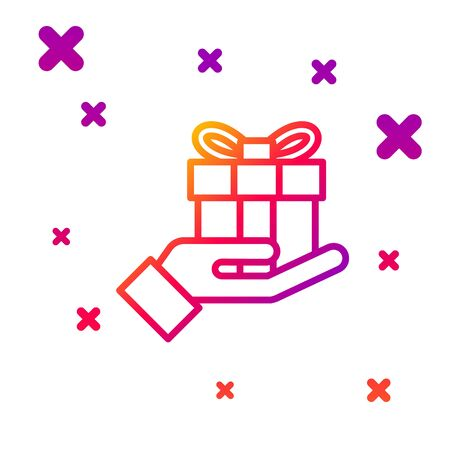Color line Gift box in hand icon isolated on white background. Merry Christmas and Happy New Year. Gradient random dynamic shapes. Vector Illustration Ilustrace