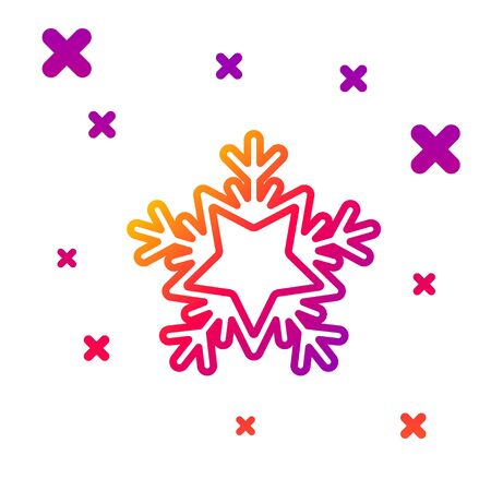 Color line Snowflake icon isolated on white background. Merry Christmas and Happy New Year. Gradient random dynamic shapes. Vector Illustration Stock Illustratie
