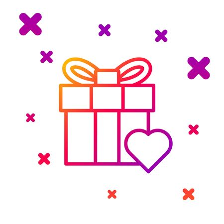 Color line Gift box and heart icon isolated on white background. Valentines day. Gradient random dynamic shapes. Vector Illustration Banco de Imagens - 140721277