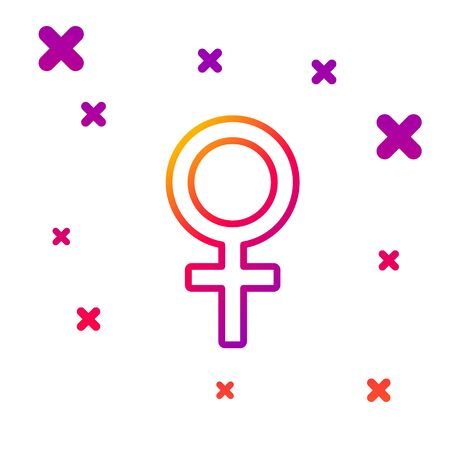 Color line Female gender symbol icon isolated on white background. Venus symbol. The symbol for a female organism or woman. Gradient random dynamic shapes. Vector Illustration