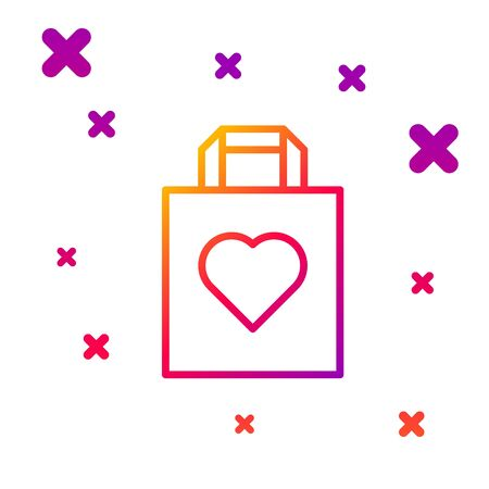 Color line Shopping bag with heart icon isolated on white background. Shopping bag shop love like heart icon. Valentines day symbol. Gradient random dynamic shapes. Vector Illustration