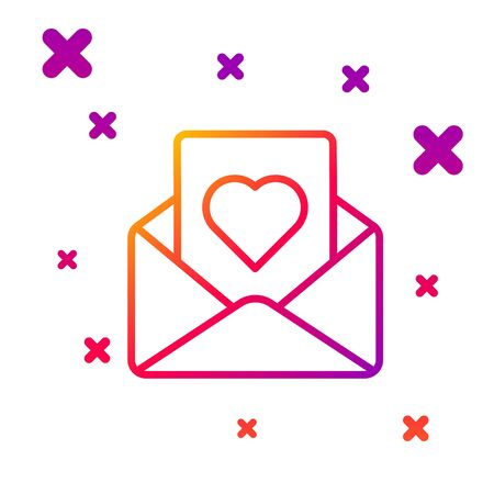 Color line Envelope with Valentine heart icon isolated on white background. Message love. Letter love and romance. Gradient random dynamic shapes. Vector Illustration