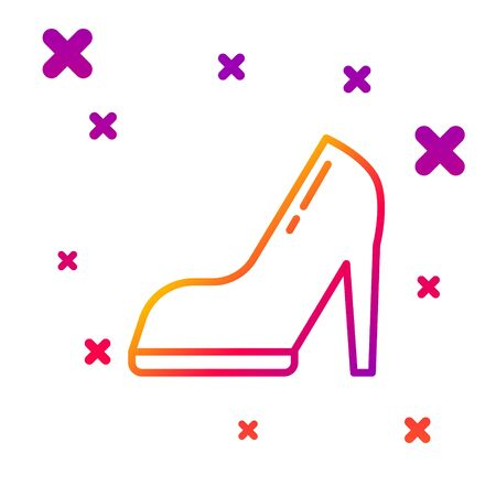 Color line Woman shoe with high heel icon isolated on white background. Gradient random dynamic shapes. Vector Illustration