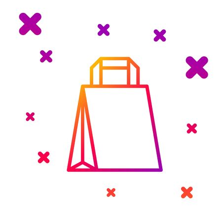 Color line Paper shopping bag icon isolated on white background. Package sign. Gradient random dynamic shapes. Vector Illustration