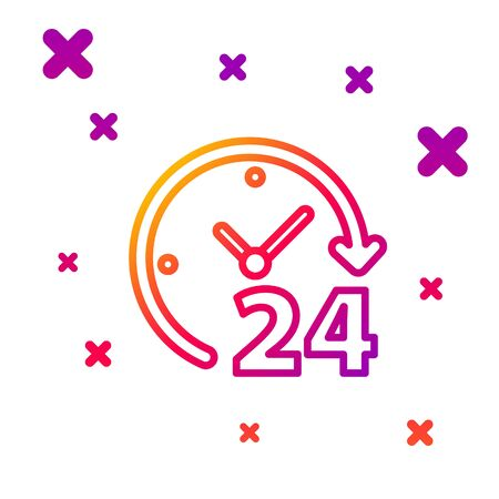 Color line Clock 24 hours icon isolated on white background. All day cyclic icon. 24 hours service symbol. Gradient random dynamic shapes. Vector Illustration Illusztráció