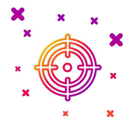 Color line Target sport icon isolated on white background. Clean target with numbers for shooting range or shooting. Gradient random dynamic shapes. Vector Illustration