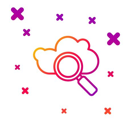 Color line Search cloud computing icon isolated on white background. Magnifying glass and cloud. Gradient random dynamic shapes. Vector Illustration Ilustrace