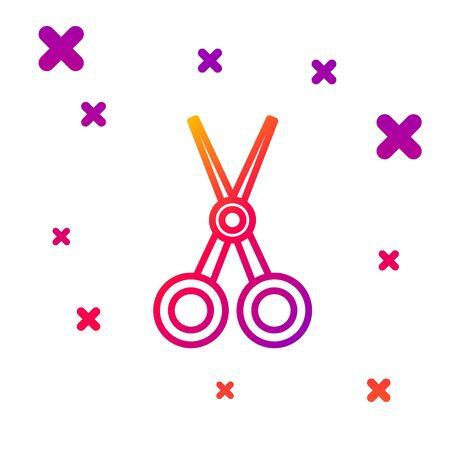 Color line Scissors hairdresser icon isolated on white background. Hairdresser, fashion salon and barber sign. Barbershop symbol. Gradient random dynamic shapes. Ilustrace