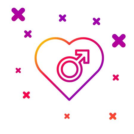 Color line Heart with male gender symbol icon isolated on white background. Gradient random dynamic shapes. Vector Illustration
