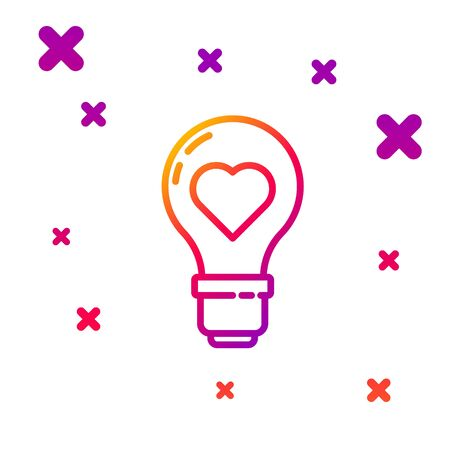 Color line Heart shape in a light bulb icon isolated on white background. Love symbol. Valentine day symbol. Gradient random dynamic shapes. Ilustracja