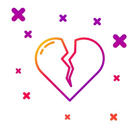 Color line Broken heart or divorce icon isolated on white background. Love symbol. Valentines day. Gradient random dynamic shapes. Ilustrace