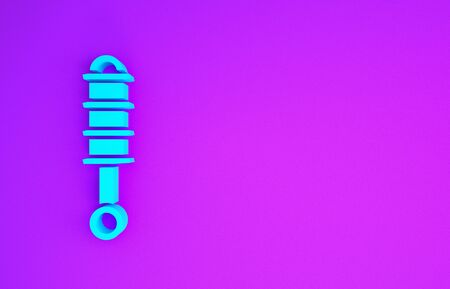 Blue Shock absorber icon isolated on purple background. Minimalism concept. 3d illustration 3D render
