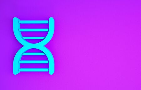 Blue DNA symbol icon isolated on purple background. Minimalism concept. 3d illustration 3D render