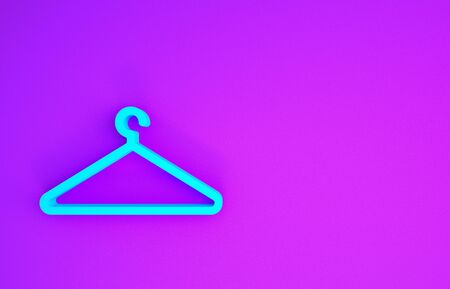 Blue Hanger wardrobe icon isolated on purple background. Cloakroom icon. Clothes service symbol. Laundry hanger sign. Minimalism concept. 3d illustration 3D render