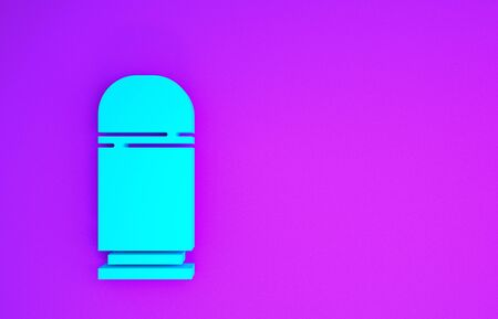 Blue Cartridges icon isolated on purple background. Shotgun hunting firearms cartridge. Hunt rifle bullet icon. Minimalism concept. 3d illustration 3D render