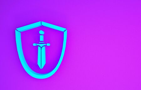 Blue Medieval shield with sword icon isolated on purple background. Minimalism concept. 3d illustration 3D render