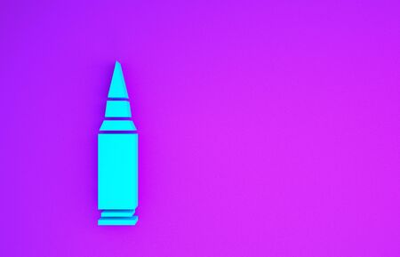Blue Bullet icon isolated on purple background. Minimalism concept. 3d illustration 3D render