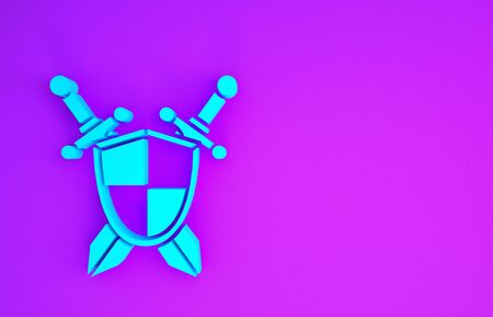 Blue Medieval shield with crossed swords icon isolated on purple background. Minimalism concept. 3d illustration 3D render Stok Fotoğraf