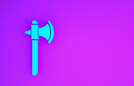 Blue Medieval axe icon isolated on purple background. Battle axe, executioner axe. Minimalism concept. 3d illustration 3D render