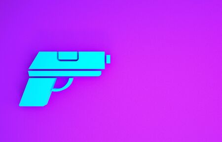 Blue Pistol or gun icon isolated on purple background. Police or military handgun. Small firearm. Minimalism concept. 3d illustration 3D render