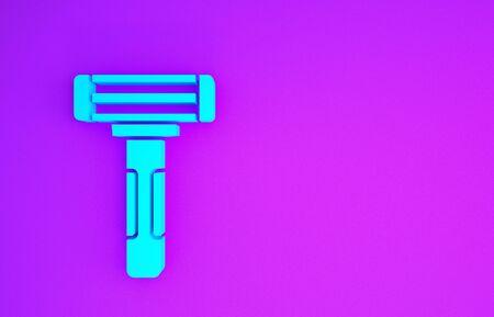Blue Shaving razor icon isolated on purple background. Minimalism concept. 3d illustration 3D render