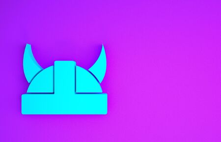 Blue Viking in horned helmet icon isolated on purple background. Minimalism concept. 3d illustration 3D render