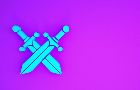 Crossed medieval sword icon isolated on purple background. Minimalism concept. 3d illustration 3D render