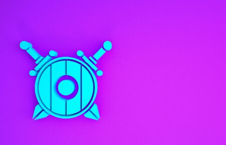Blue Medieval wooden shield with crossed swords icon isolated on purple background. Minimalism concept. 3d illustration 3D render