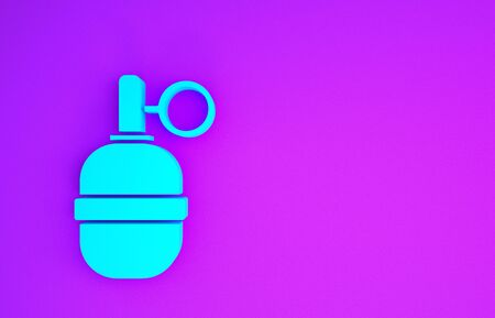 Blue Hand grenade icon isolated on purple background. Bomb explosion. Minimalism concept. 3d illustration 3D render